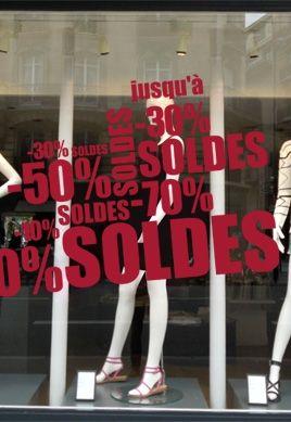 Adhésif pour vitrine commerce soldes