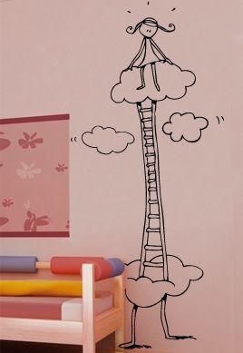 Sticker la tête dans les nuages découpé à la forme dans vinyle de couleur unie. Ce visuel trouvera sa place dans la chambre de votre fille qui enfin pourra faire de beaux rêves. Création Cat Caroff