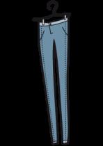 Sticker blue jean sur cintre.