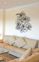 Sticker Bouquet de fleurs découpé à la forme dans vinyle de couleur unie.
