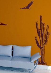 Sticker cactus découpé à la forme dans vinyle de couleur unie. Attention ça pique!
