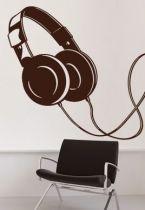 Sticker casque audio découpé à la forme dans vinyle de couleur unie.