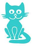 Sticker chat Pato découpé à la forme dans vinyle de couleur unie.