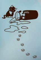 Sticker chaton avec pot au lait