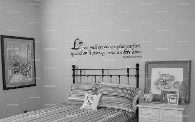 sticker citation le sommeil est encore plus parfait avec un tre aim. Black Bedroom Furniture Sets. Home Design Ideas