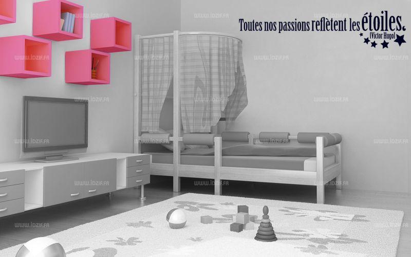 """Sticker citation \""""Toutes nos passions...\"""" de Victor Hugo. Sticker adhésif découpés à la forme dans vinyle de couleur unie, ce visuel donnera une touche d\'originalité à votre intérieur, idéal pour une chambre de bambin."""