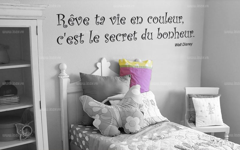 sticker citation r ve ta vie en couleur c 39 est le secret du bonheur. Black Bedroom Furniture Sets. Home Design Ideas