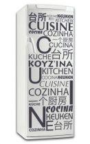 Sticker cuisine en différentes langues. Décoration de frigidaire réalisée en vinyle adhésif avec découpe à la forme, à vous de choisir la couleur qui s\'accordera le mieux à votre intérieur de cuisine. Sticker idéal pour rendre son frigo unique. Stickers vu dans D&CO dans une cuisine bien sûr.