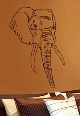 Sticker déco tête d\'éléphant découpé à la forme dans vinyle adhésif uni.