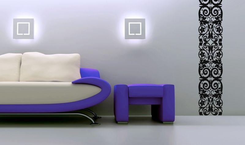 Sticker dentelle : Pomona découpée à la forme dans vinyle de couleur unie. Ce sticker dentelle pourra occuper toute la hauteur de votre mur.
