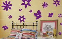 """Sticker \""""fleurs marguerites\"""" découpé à la forme dans vinyle de couleur unie. Ce visuel habillera vos murs de manières originale. Création MALTIN"""