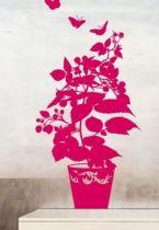 Sticker framboisier découpé à la forme dans vinyle de couleur unie. Création LNDesign.