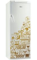 Sticker frigo FRIGOLO 2000. Décoration de frigidaire réalisée en vinyle adhésif avec découpe à la forme, à vous de choisir la couleur qui s\'accordera le mieux à votre intérieur de cuisine. Sticker idéal pour rendre son frigo unique et lui donner une subtile touche d\'humour.