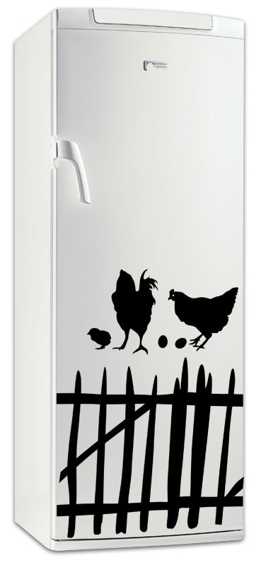 sticker frigo la poule du frigidaire. Black Bedroom Furniture Sets. Home Design Ideas
