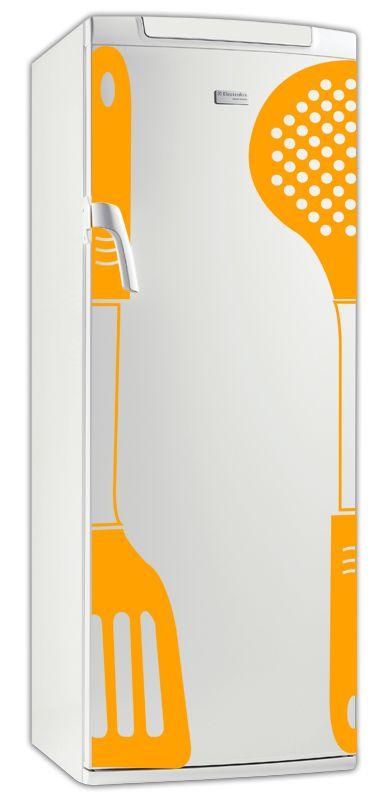 Sticker frigo ustensile de cuisine en vinyle adhésif avec découpe à la forme, ce visuel étonnant fera sensation dans votre cuisine.