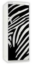 Sticker frigo zébré. Décoration de frigidaire réalisée en vinyle adhésif avec découpe à la forme, IDZIF innove dans la personnalisation de votre cuisine avec une gamme de sticker sur le thème animal. Ces visuels feront de votre cuisine un coin totalement unique.