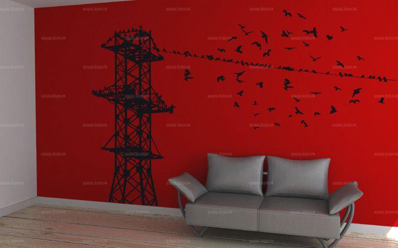 Sticker tour d\'oiseaux découpé à la forme dans vinyle adhésif uni.