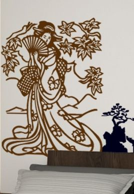 Sticker geisha et son éventail.