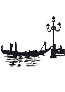Stickers gondole de Venise pour voyager en Italie sans bouger de sa maison. Un décor mural pour tout le pan de mur