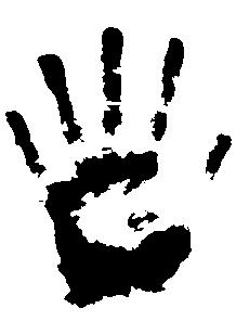 Sticker grande main découpé à la forme dans vinyle de couleur unie.