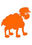 sticker mouton découpé à la forme dans vinyle de couleur unie.