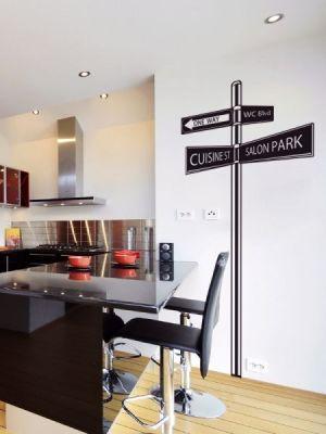 sticker mural panneau directionnel. Black Bedroom Furniture Sets. Home Design Ideas