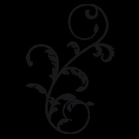 Le stickers mural végétal en noir. Décorez sur le thème du baroque.
