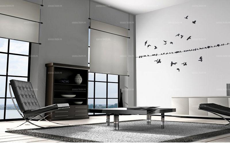 Sticker oiseaux découpé à la forme dans vinyle adhésif uni. Cette planche de stickers vous permettra de réaliser le décor de votre choix avec une envollée d\'oiseaux.