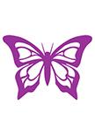Sticker papillon découpé à la forme dans vinyle de couleur unie.