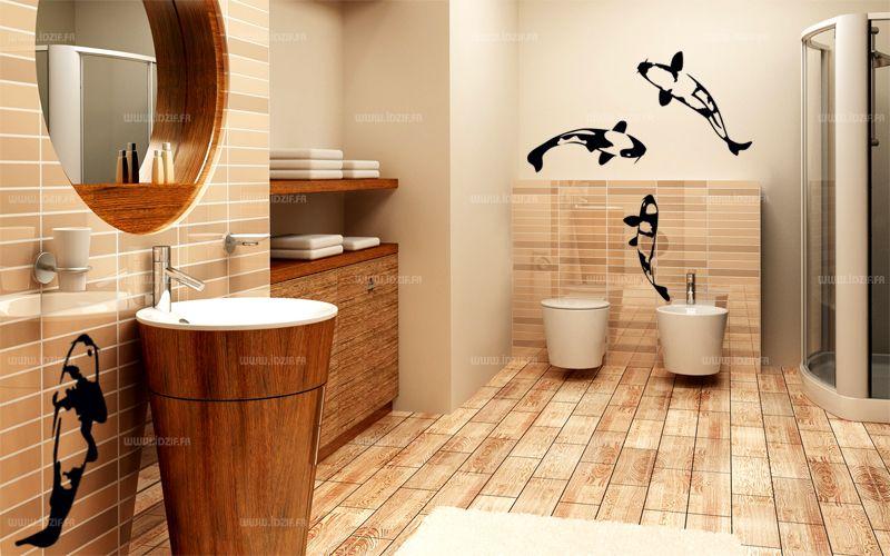 Stickers Poissons chinois découpés à la forme dans vinyle de couleur unie, cette planche se compose de 4 poissons asiatique, idéal pour donner une ambiance zen à votre intérieur.