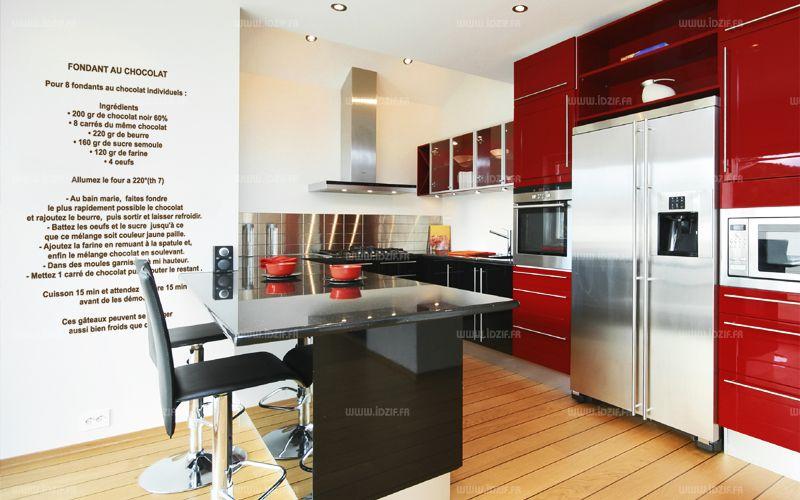 Sticker recette du fondant au chocolat. Visuel découpé à la forme dans vinyle de couleur unie. Avec ce visuel plus besoin d\'avoir votre livre de recette sous la main, il vous suffira d\'ouvrir grand les yeux. Préparez-vous à faire des heureux. Les stickers recette de cuisine décors vos murs.