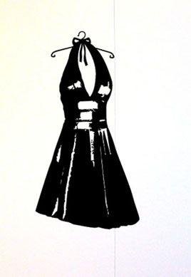 Stickers robe de femme pour décorer un mur de la pièce dédiée aux loisirs créatifs, la couture, la mode. Stickers en vente sur iDzif.com