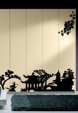 Stickers l\'horizon du soleil levant en ombre chinoise découpés à la forme dans vinyle de couleur unie, ce décor adhésif est parfait pour tout adepte du pays du dragon.\r\nCet autocollant est séparé en trois parties afin de laisser libre cour à votre créativité et à vos envies de composition.