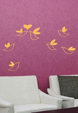 stickers oiseaux vol coeur