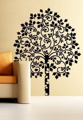 Stickers arbre rayonnant découpé à la forme dans vinyle de couleur unie. Idéal pour habiller vos murs.
