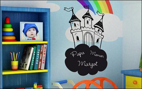 Stickers ardoise enfant avec un château sur un nuage