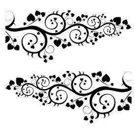 Stickers voiture avec des motifs floraux et des petits cœurs
