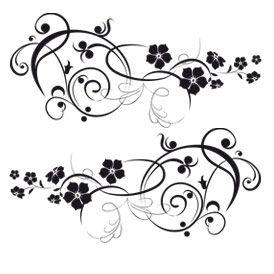 Stickers voiture avec des motifs floraux en frise