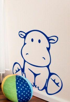 Stickers b b hippopotame for Objet decoration hippopotame