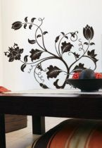 Stickers branches fleuries découpés à la forme dans vinyle de couleur unie.