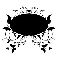 Stickers cadre floral ornement avec finition ardoise