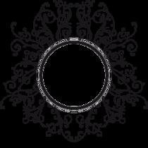 Le stickers cadre rond fleur en noir. Décorez sur le thème du baroque.