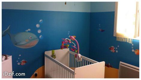 stickers chambre bébé arbre océan