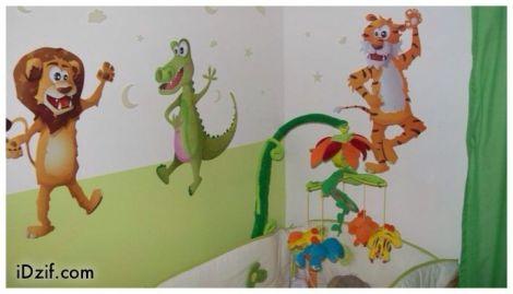 stickers chambre bébé thème jungle