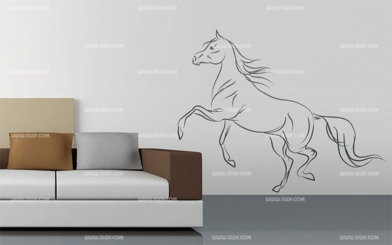 Stickers cheval au trait