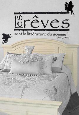 """Stickers citation \""""Les rêves...\"""" de Jean Cocteau. Sticker adhésif découpés à la forme dans vinyle de couleur unie, ce visuel trouvera une place unique dans la chambre de vos bambins ou dans la vôtre."""