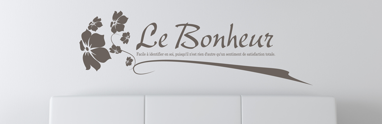 stickers citation bonheur d finition. Black Bedroom Furniture Sets. Home Design Ideas