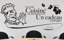 Stickers citation : La vraie cuisine est une forme d'art. Un cadeau à partager.