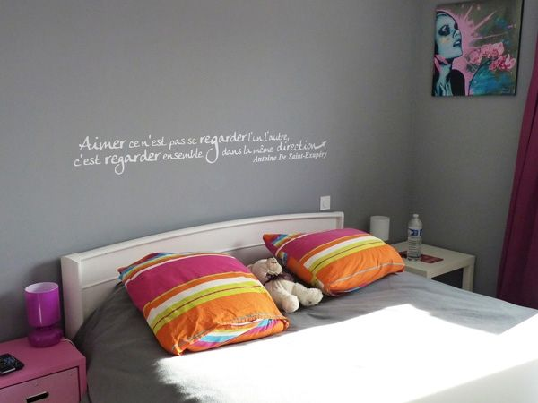 Sticker citation aimer ce n 39 est pas se regarder l 39 un l for Stickers phrase chambre adulte