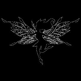 Le stickers clochette aux grandes ailes en noir pour décorer l\'intérieur sur le thème des fées